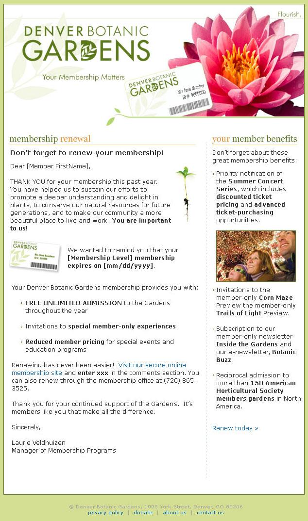 Denver Botanic Gardens - Member Renewal Email