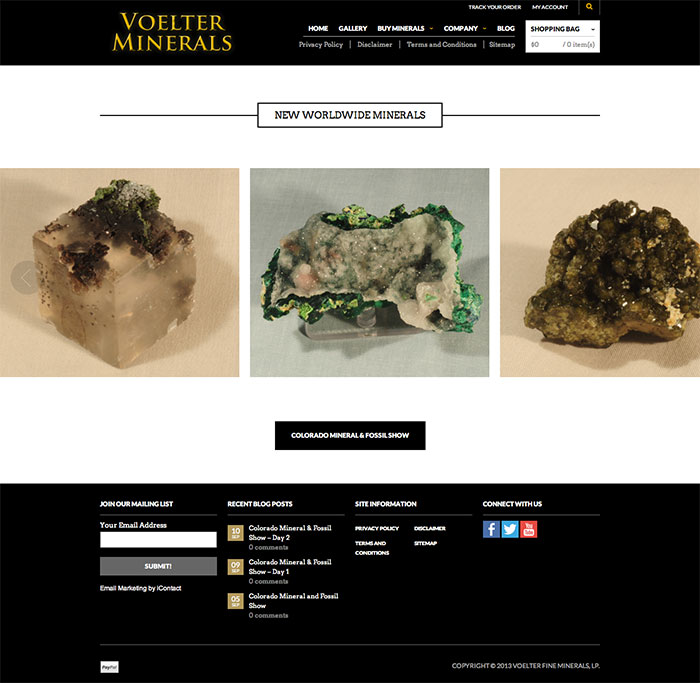Voelter Fine Minerals - WordPress Site